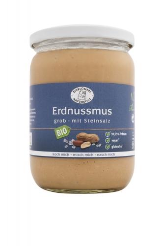 Bio Erdnussmus grob mit Steinsalz - 500g im Glas